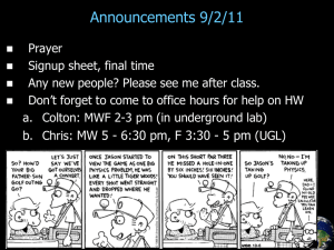 Announcements 9/2/11