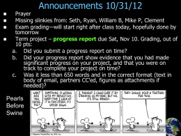 Announcements 10/31/12