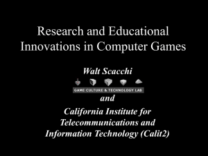 Research and Educational Innovations in Computer Games