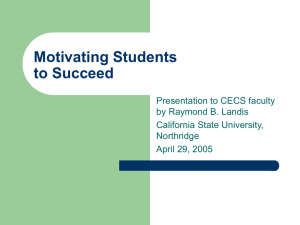 Motivating Students to Succeed by Ray Landis
