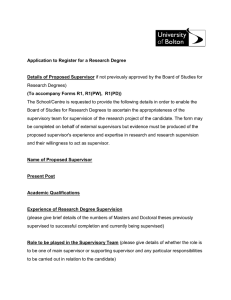 Application to Register for a Research Degree Details of Proposed Supervisor