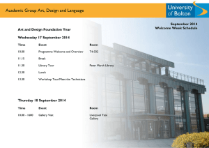 Academic Group Art, Design and Language  September 2014 Welcome Week Schedule