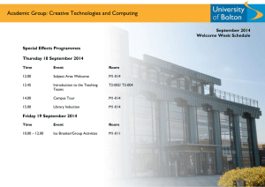 Academic Group: Creative Technologies and Computing September 2014  Welcome Week Schedule