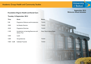 Academic Group Health and Community Studies  September 2014 Welcome Week Schedule