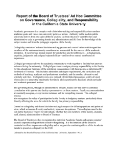 Governance, Collegiality, and Responsibility in the CSU (Board Of Trustees, 1985)