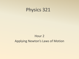 Physics 321 Hour 2 Applying Newton's Laws of Motion