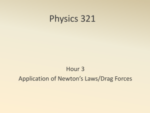 Physics 321 Hour 3 Application of Newton's Laws/Drag Forces