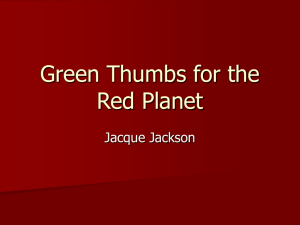 Green Thumbs for the Red Planet Jacque Jackson