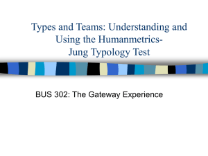 Types and Teams: Understanding and Using the Humanmetrics- Jung Typology Test