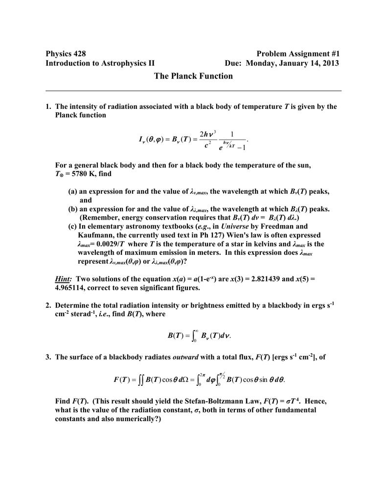 Homework blackbody radiation solution free business plan essays