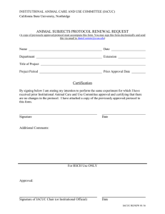 ANIMAL SUBJECTS PROTOCOL RENEWAL REQUEST California State University, Northridge