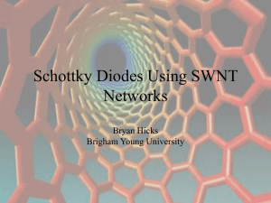 Schottky Diodes Using SWNT Networks Bryan Hicks Brigham Young University