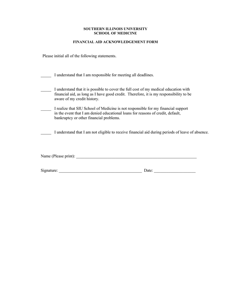Financial Aid Institutional Application Required Statements Form