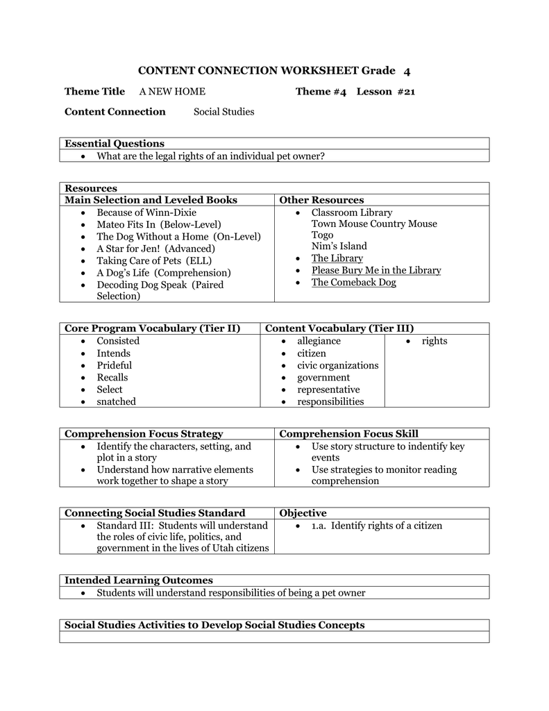 - CONTENT CONNECTION WORKSHEET Grade 4