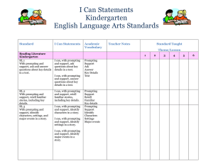 I Can Statements Kindergarten English Language Arts Standards