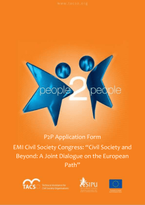 "P2P Application Form EMI Civil Society Congress: ""Civil Society and"