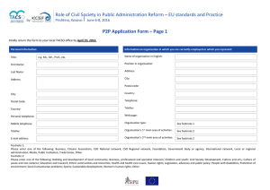 Role of Civil Society in Public Administration Reform – EU... P2P Application Form – Page 1 by