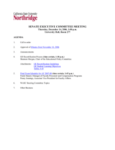 SENATE EXECUTIVE COMMITTEE MEETING Thursday, December 14, 2006, 1:00 p.m.