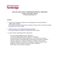 SENATE EXECUTIVE COMMITTEE SPECIAL MEETING