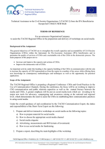 Technical Assistance to the Civil Society Organisations 2 (TACSO 2)... EuropeAid/133642/C/SER/Multi
