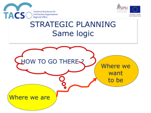 STRATEGIC PLANNING Same logic HOW TO GO THERE ? Where we