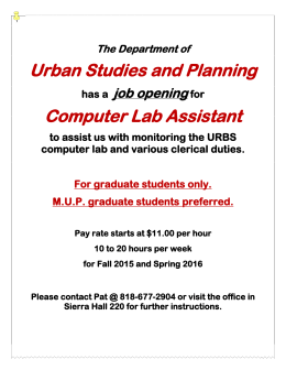 Urban Studies and Planning Computer Lab Assistant job opening The Department of