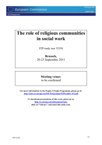 The role of religious communities in social work  Brussels,