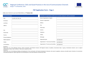 Regional Conference: CSOs and Good Practices in the Use of... P2P Application Form – Page 1