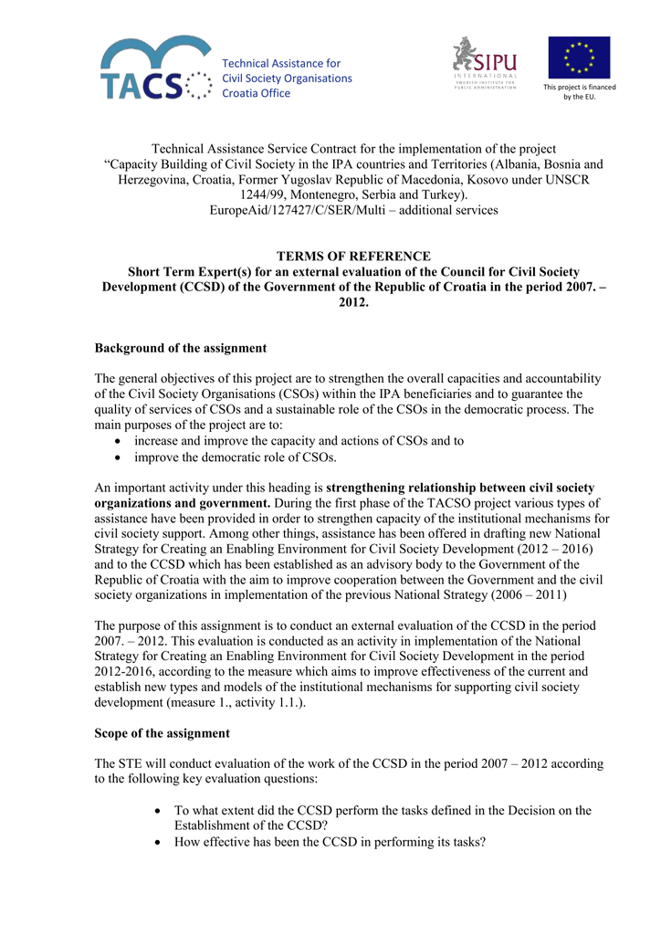 Technical Assistance Service Contract for the implementation