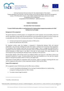Technical Assistance Service Contract for the implementation of the project