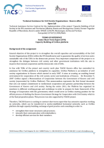 Technical Assistance Service Contract for the implementation of the project... Technical Assistance for Civil Society Organisations