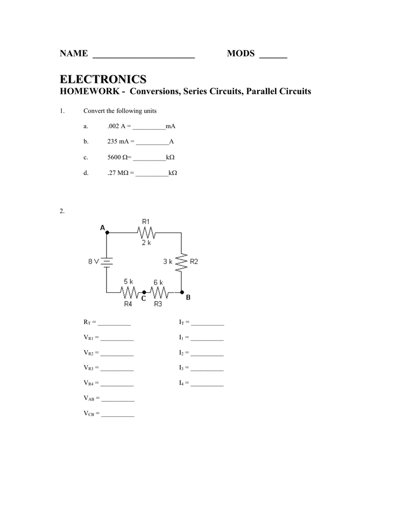 Homework Series Circuits Parallel Circuit And