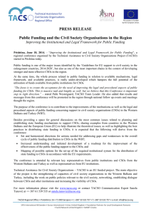 PRESS RELEASE Improving the Institutional and Legal Framework for Public Funding