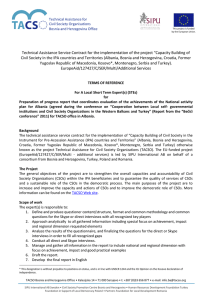 Technical Assistance Service Contract for the implementation of the project... Civil Society in the IPA countries and Territories (Albania, Bosnia...