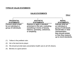 TYPES OF VALUE STATEMENTS  VALUE STATEMENTS Other