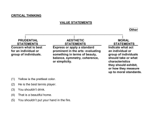 CRITICAL THINKING  VALUE STATEMENTS Other