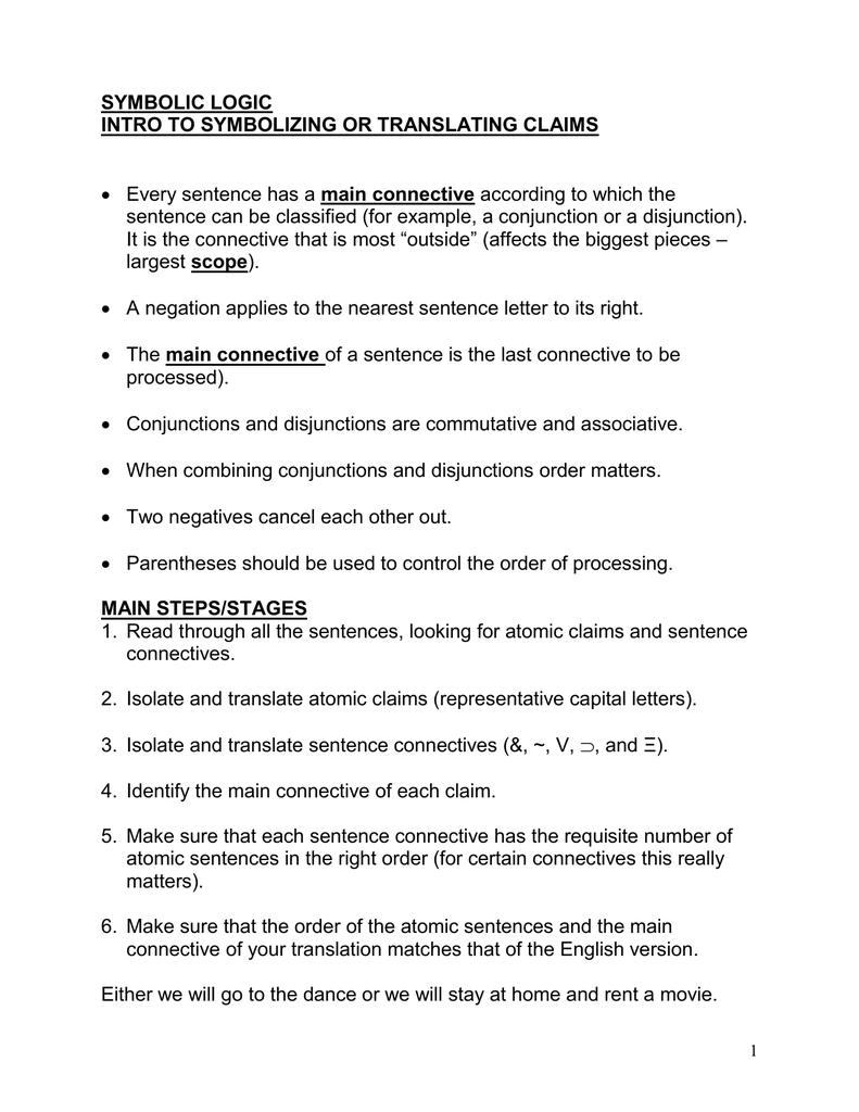 Summary Of Symbolizing In Sentential Logic