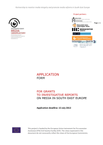 APPLICATION FORM ON MEDIA IN SOUTH EAST EUROPE