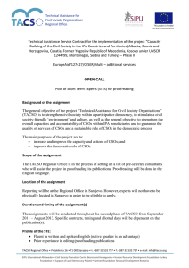 Technical Assistance Service Contract for the implementation of the project... Building of the Civil Society in the IPA Countries and...
