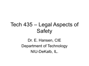 Legal Aspects of Safety, Product Liability Overview (PowerPoint)