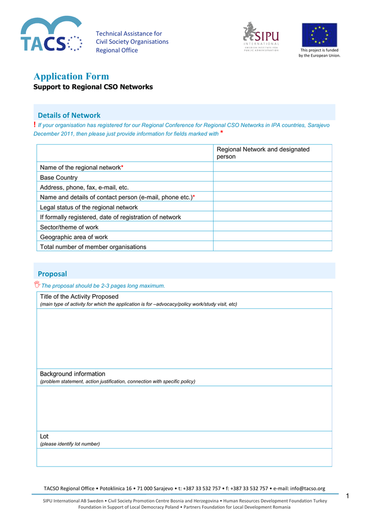 Application Form Details of Network !