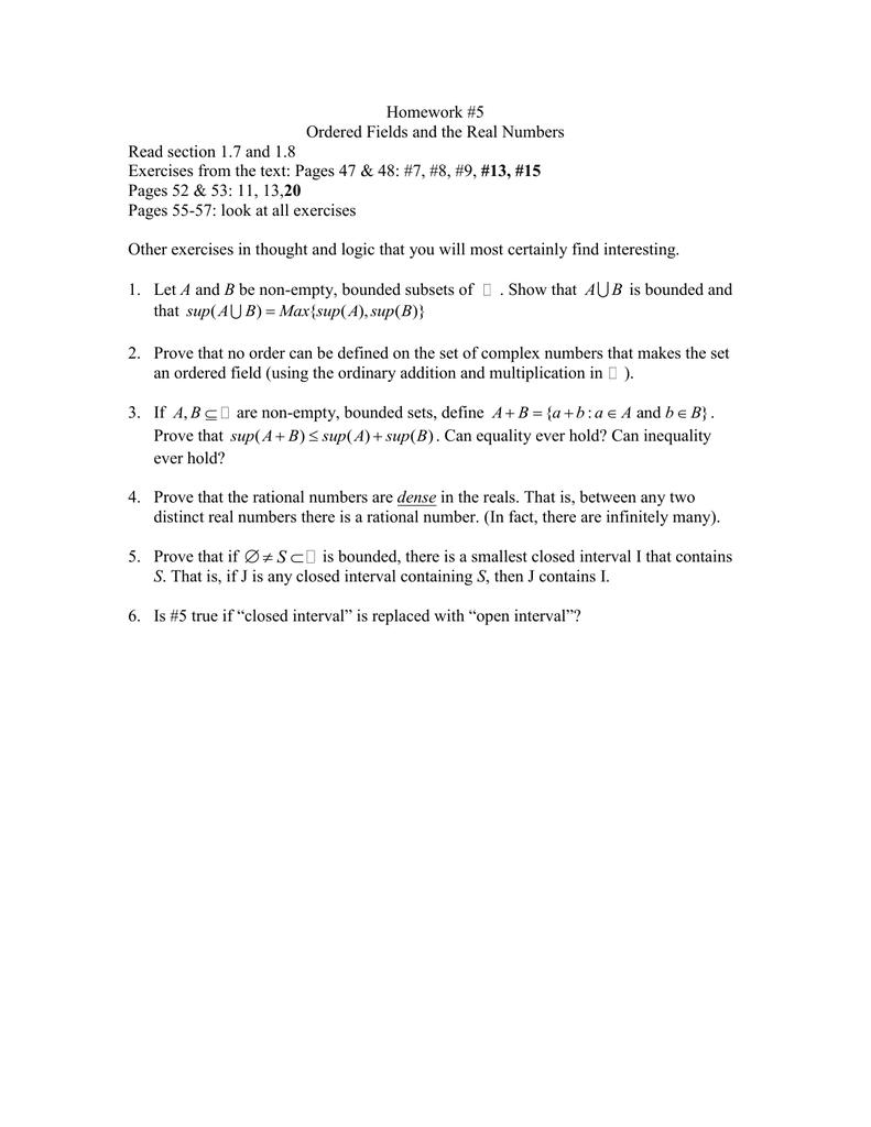 Hw 5 Properties Of The Real Numbers