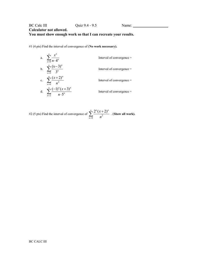 BC Calc III Quiz 9 4 - 9 5