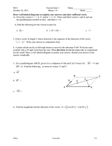 MI 4 Vectors Quiz 1 Name _________________ October 24, 2011