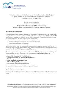 TA CS Technical Assistance Service Contract for the Implementation of the Project