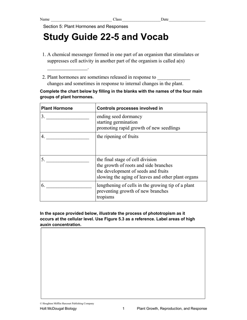 chapter 22 section 5 study guide and vocabulary