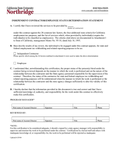 Independent Contractor/Employee Status Determination Statement