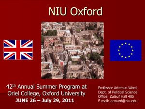 NIU Oxford 2011: Study Abroad at Oriel College, Oxford University