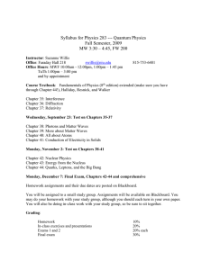 Syllabus for Physics 283 --- Quantum Physics Fall Semester, 2009