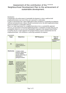 Assessment of NDP contribution to sustainability objectives template